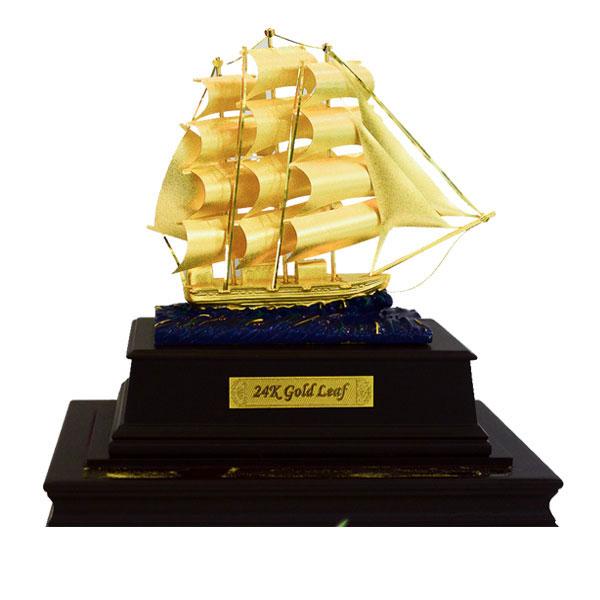 Qùa tặng thuyền vàng lá 24k, hộp thuyền quà tặng sếp