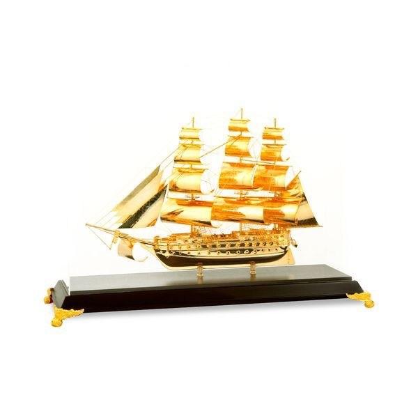 Thuyền buồm mạ vàng 24k để bàn làm việc, quà tặng sếp
