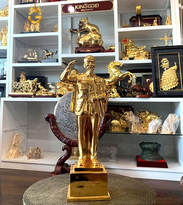 Tượng đồng chân dung Bác hồ mạ vàng 42 cm