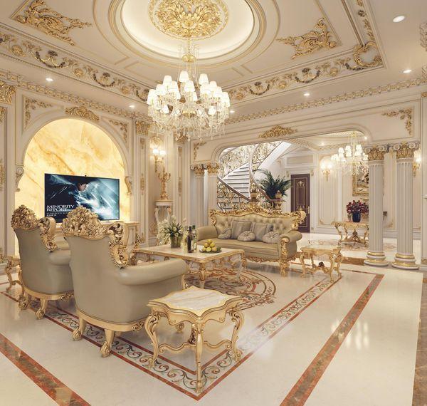 Thi công dát vàng nội thất phòng khách hiện đại