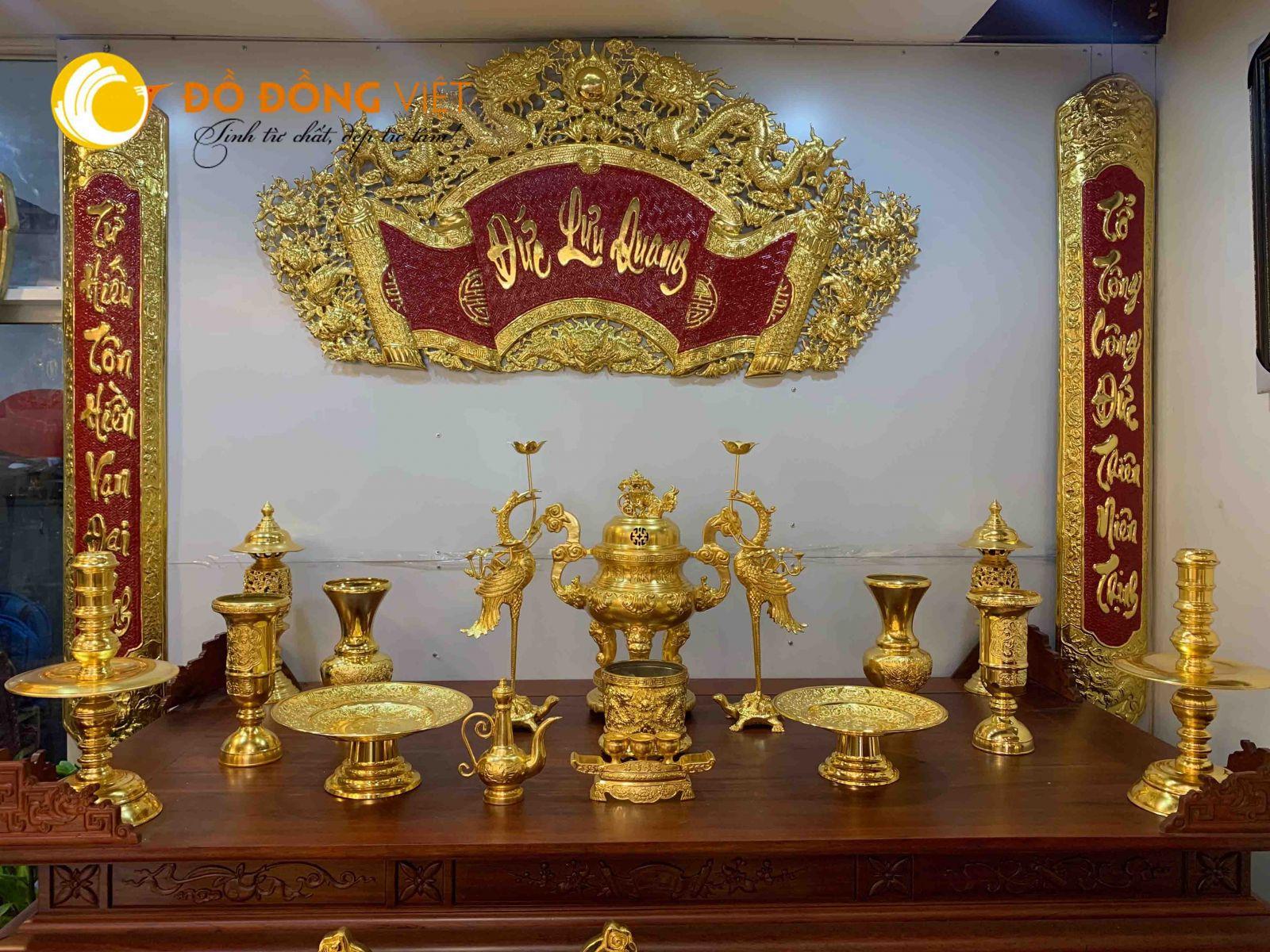 Bộ đồ thờ phú quý dát vàng, đỉnh đồng thờ cúng đẹp