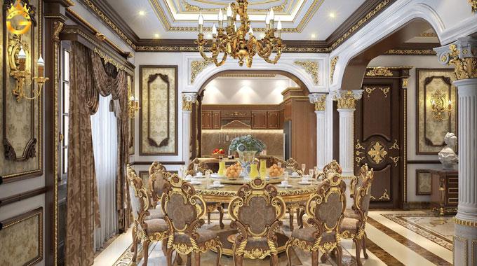 Dát vàng hoa văn nội thất phòng khách: phào chỉ thạch cao, họa tiết gỗ