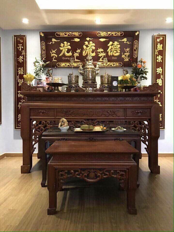 Bộ đồ thờ cúng dát vàng 999,9, bộ đỉnh đồng cao cấp