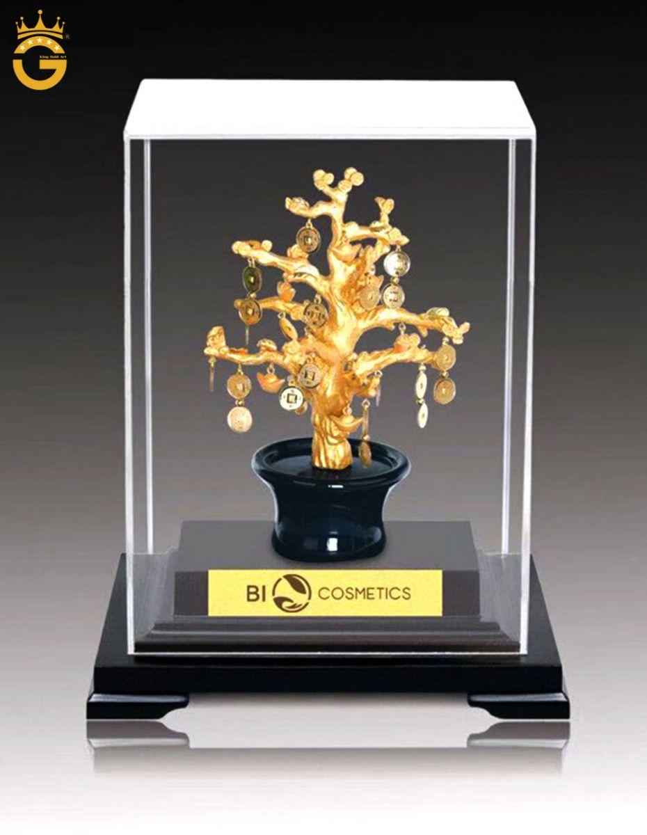 Qùa tặng văn hóa Việt, tranh hoa sen dát vàng, chậu cây vàng 24k để bàn