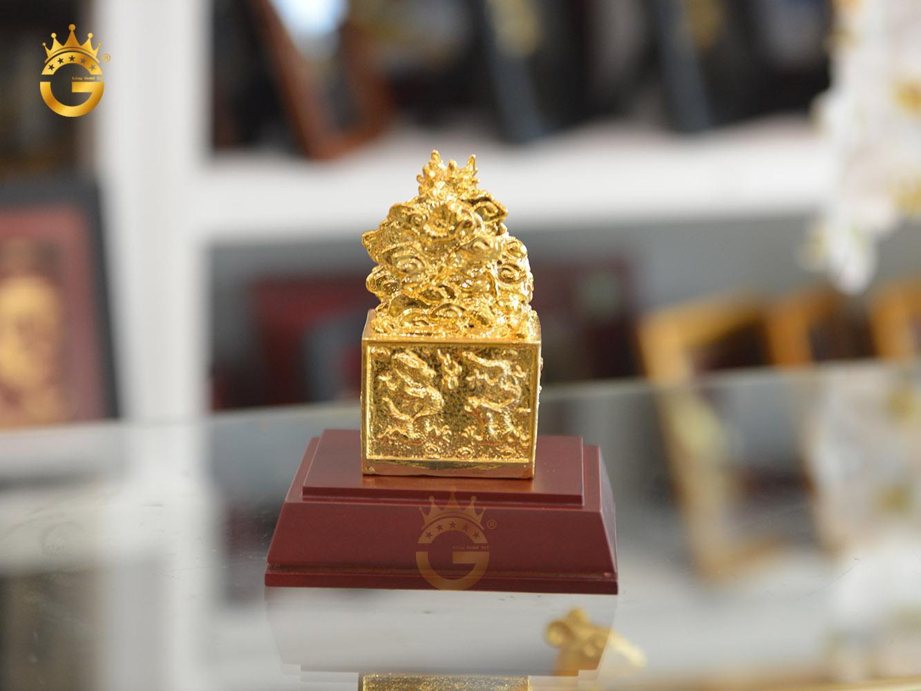 Ấn rồng mạ vàng 24k- vật phẩm phong thủy cao cấp