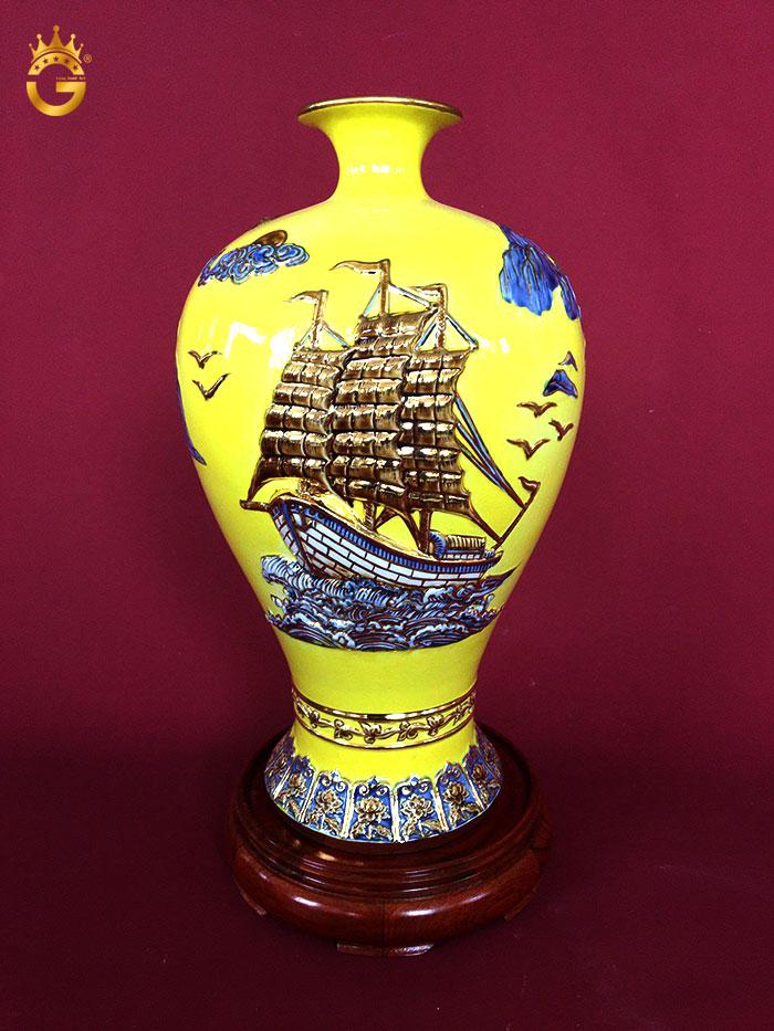 Bình gốm vẽ vàng thuận buồm xuôi gió 48 cm