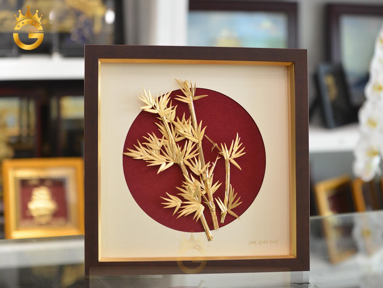 Tranh trúc quân tử bằng vàng - bộ mai lan trúc cúc