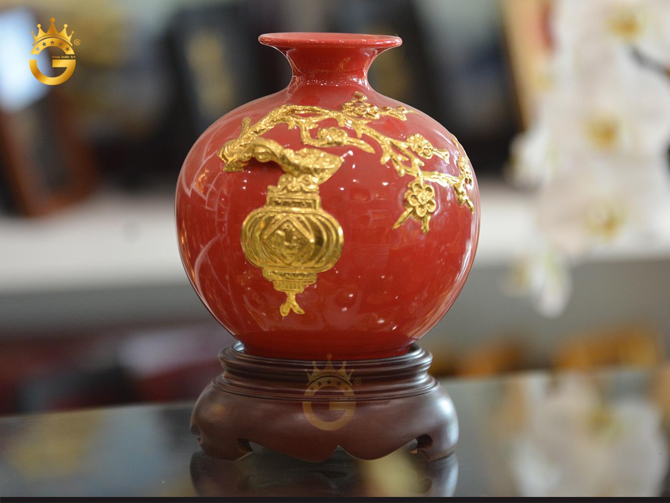 Quà tặng bình gốm dát vàng- bình hút tài lộc Hồng Phúc Xuân Thiên