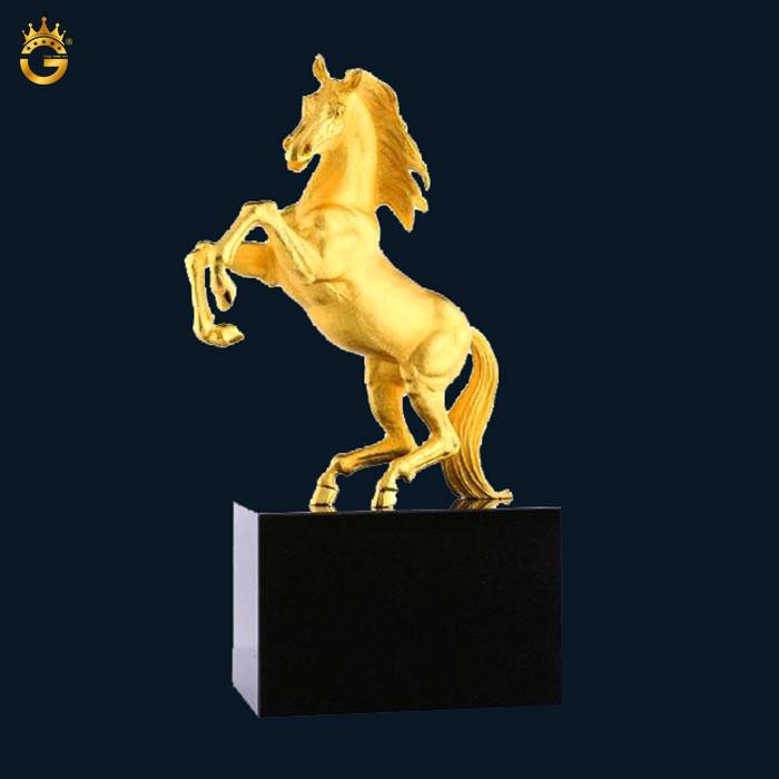 Tượng ngựa 12 con giáp mạ vàng 24k, quà tặng phong thủy King Gold Art