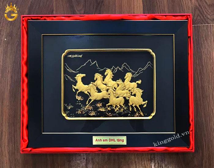 Tranh bát mã dát vàng 24k quà tặng anh em bạn thân