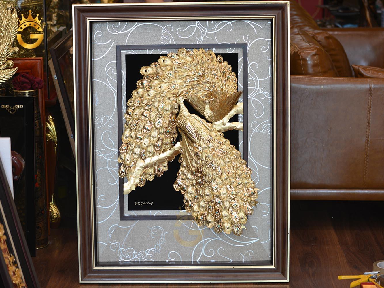 Tranh đôi chim công phú quý cát tường- quà cưới vô cùng ý nghĩa