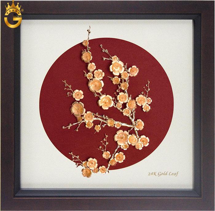 Tranh mai vàng 24k, ý nghĩa bức tranh mai dát vàng quà tặng