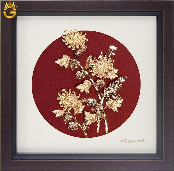 Tranh hoa mẫu đơn vàng lá 24k ý nghĩa Vinh hoa phú quý