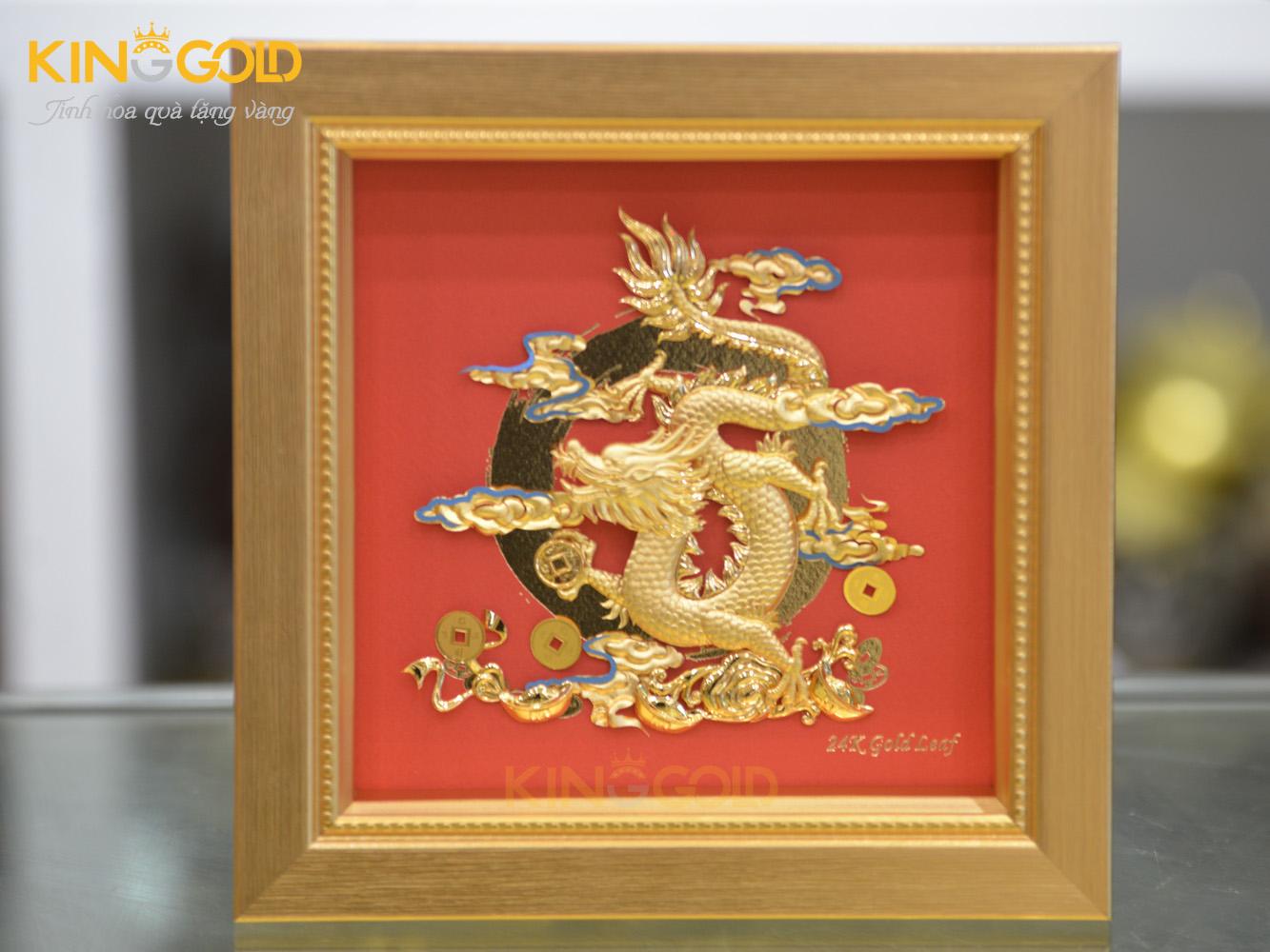 Tranh vàng cao cấp, tranh rồng mạ vàng 24k quà tặng đối ngoại ý nghĩa