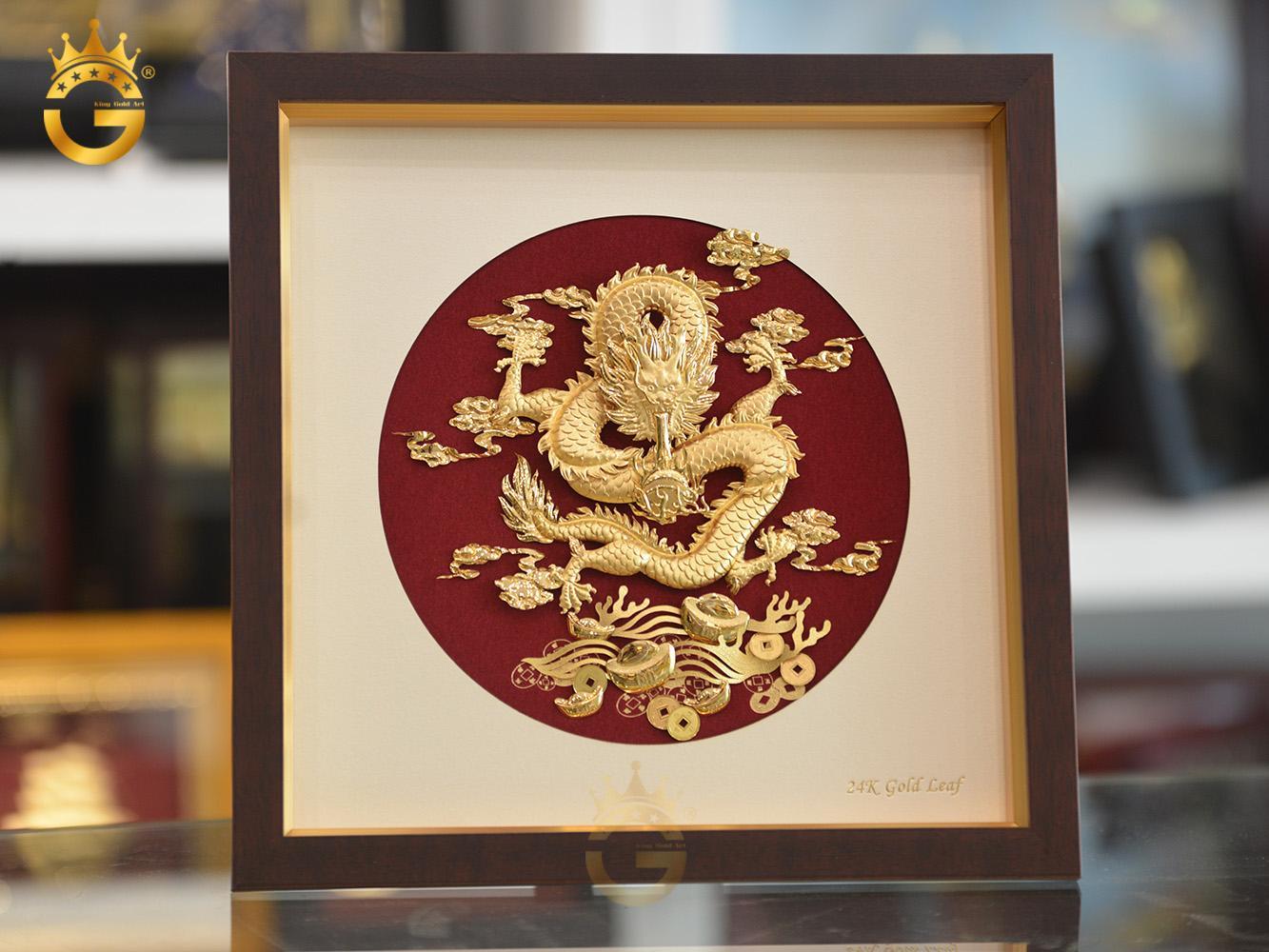 Tranh vàng 24k, tranh rồng phú quý tại Vua quà vàng King Gold