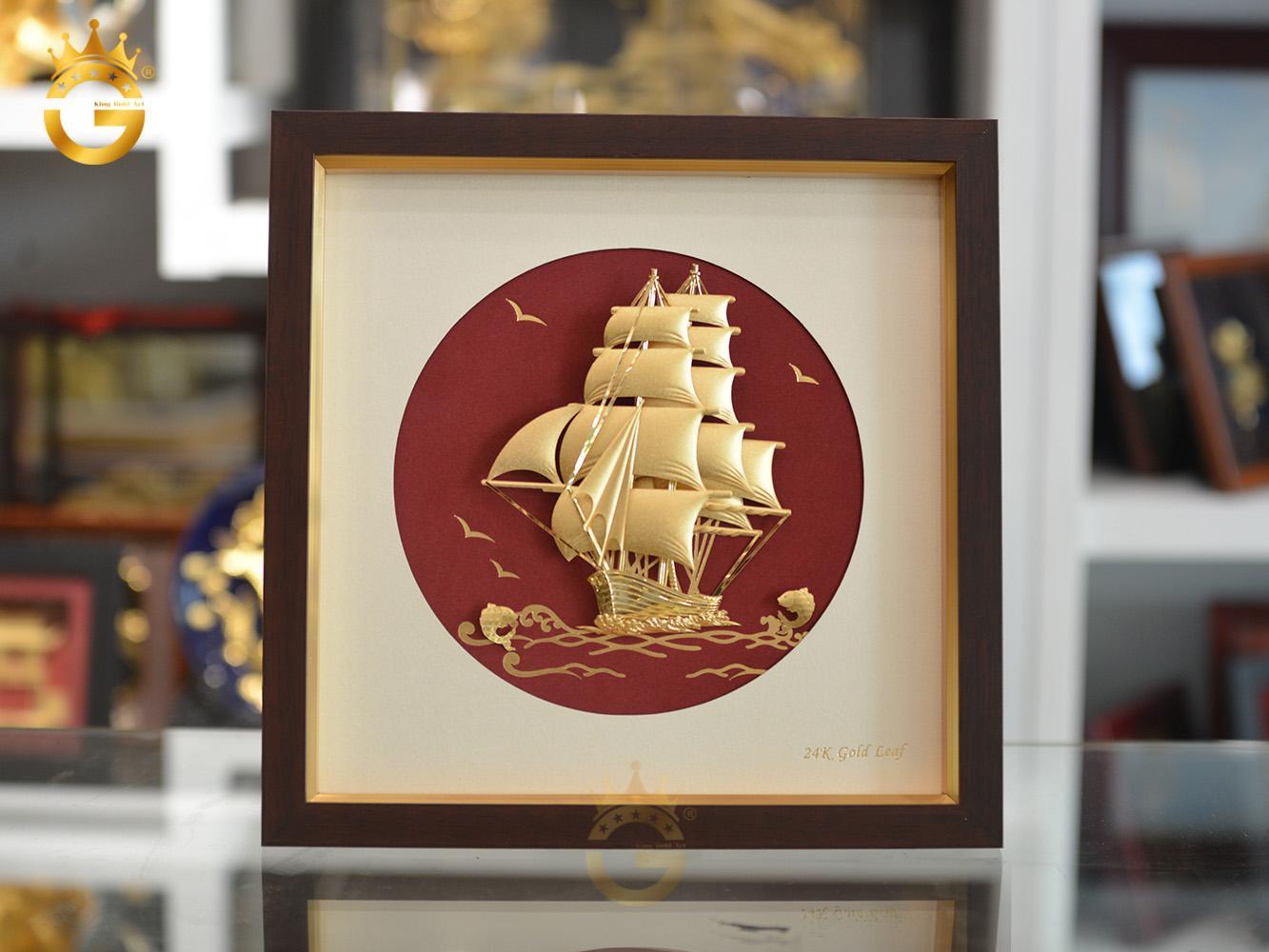 Quà tặng tân gia- tranh thuyền buồm dát vàng 24k đẹp tinh xảo