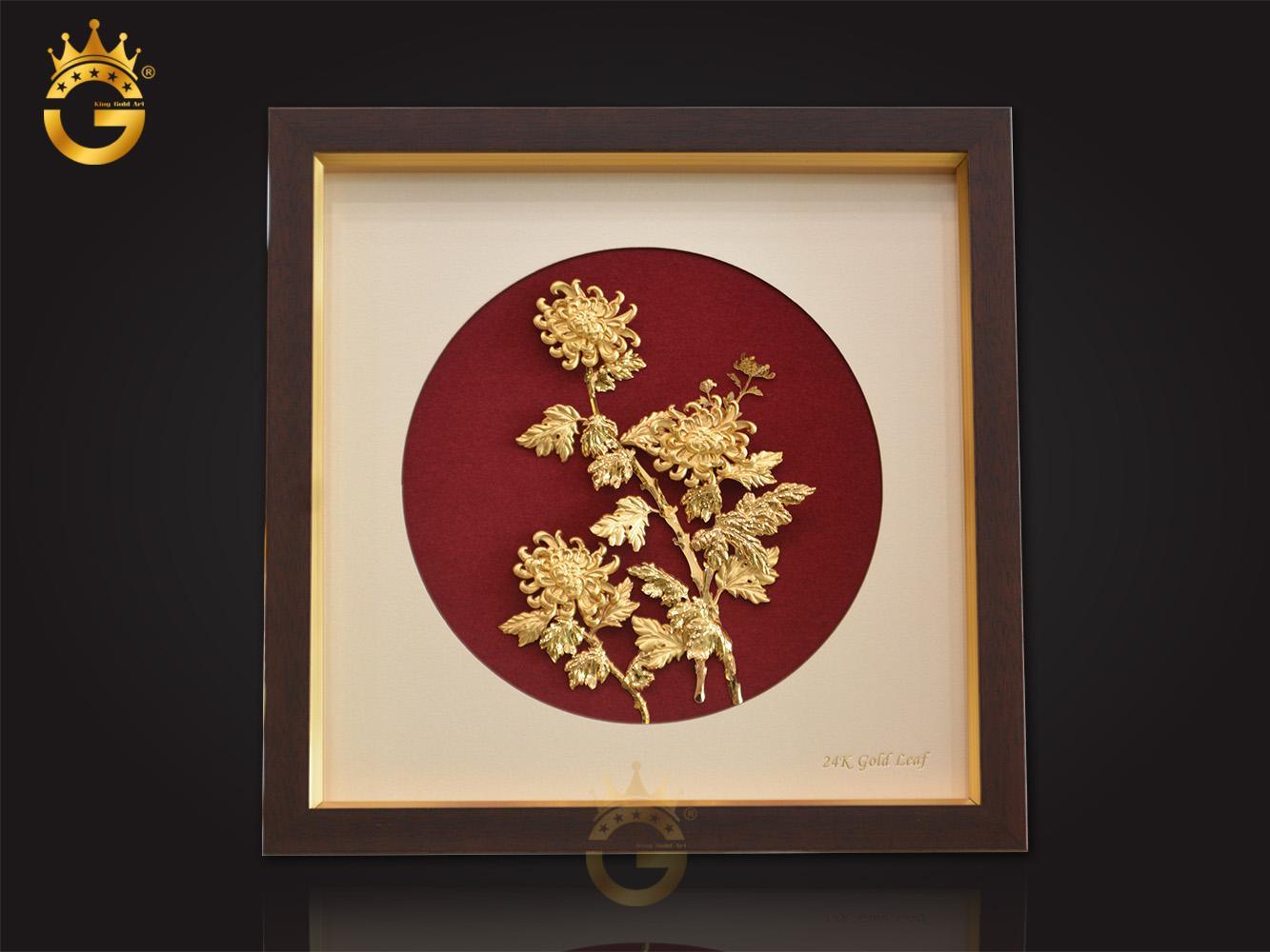 Quà tặng tranh vàng 24k cao cấp, tranh hoa cúc bằng vàng lá 24k