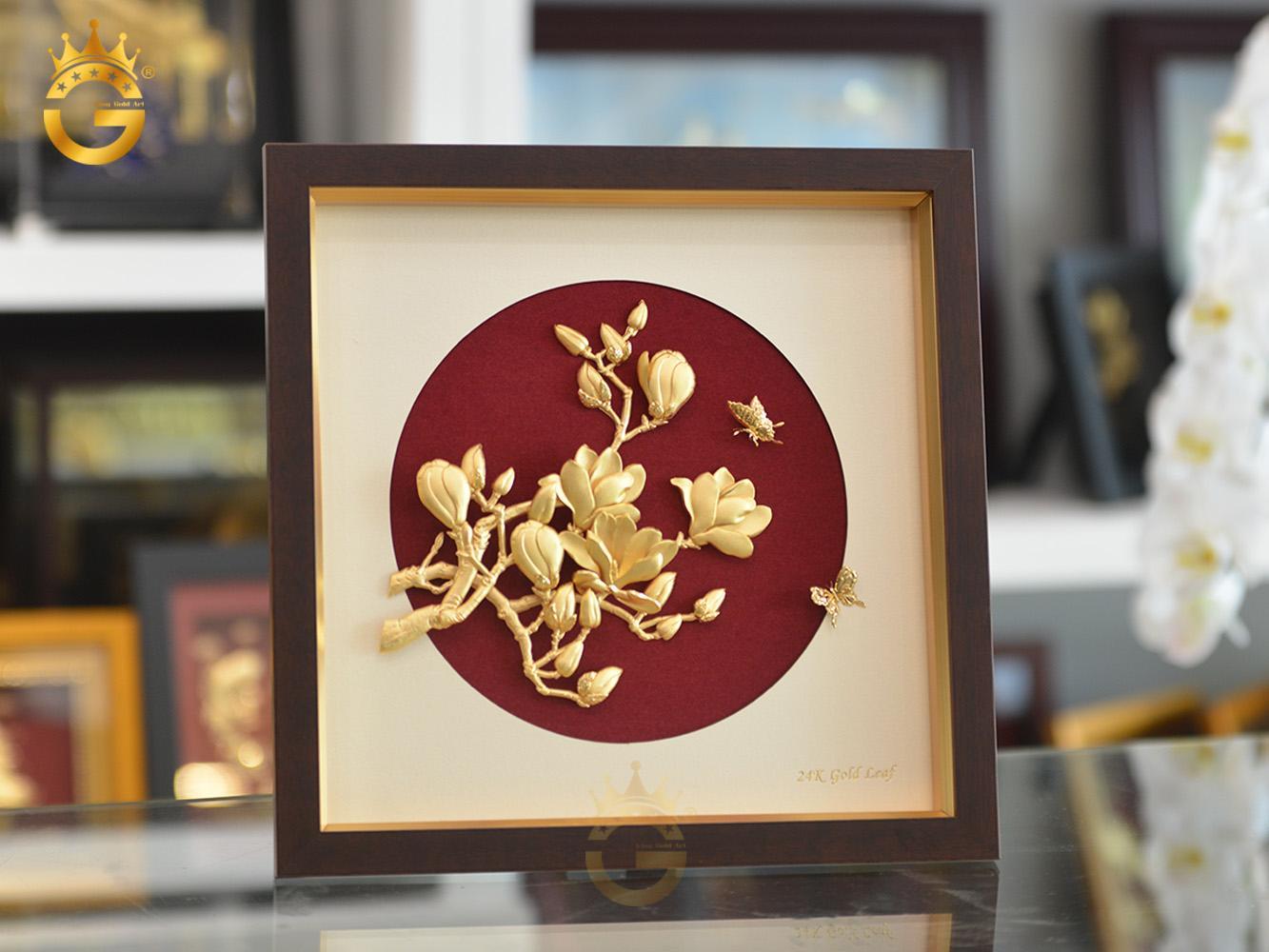 Tranh hoa lan bằng vàng 24k đẹp tinh xảo từng chi tiết