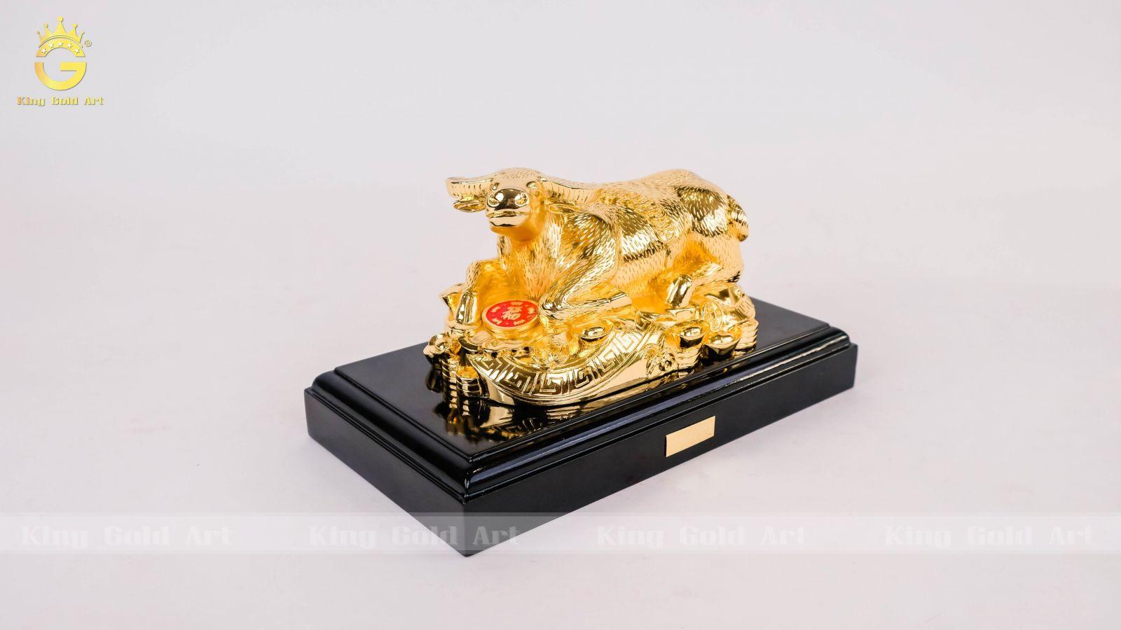 Trâu nằm bằng đồng mạ vàng 24k 20 cm