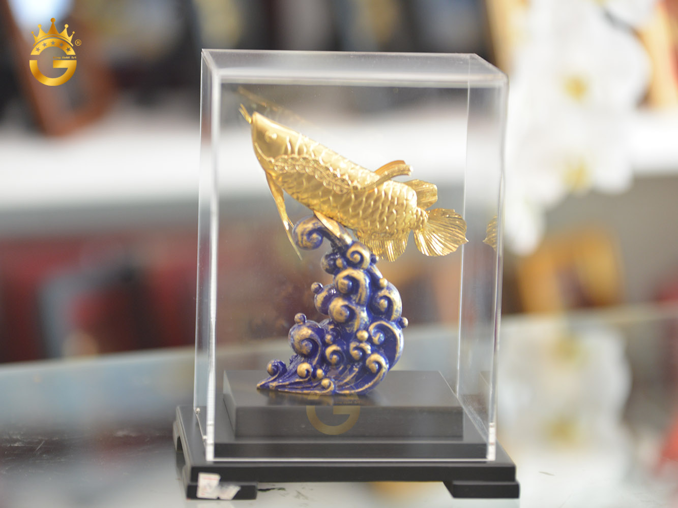 Quà vàng cao cấp, tượng cá rồng mạ vàng 24k đẹp lung linh