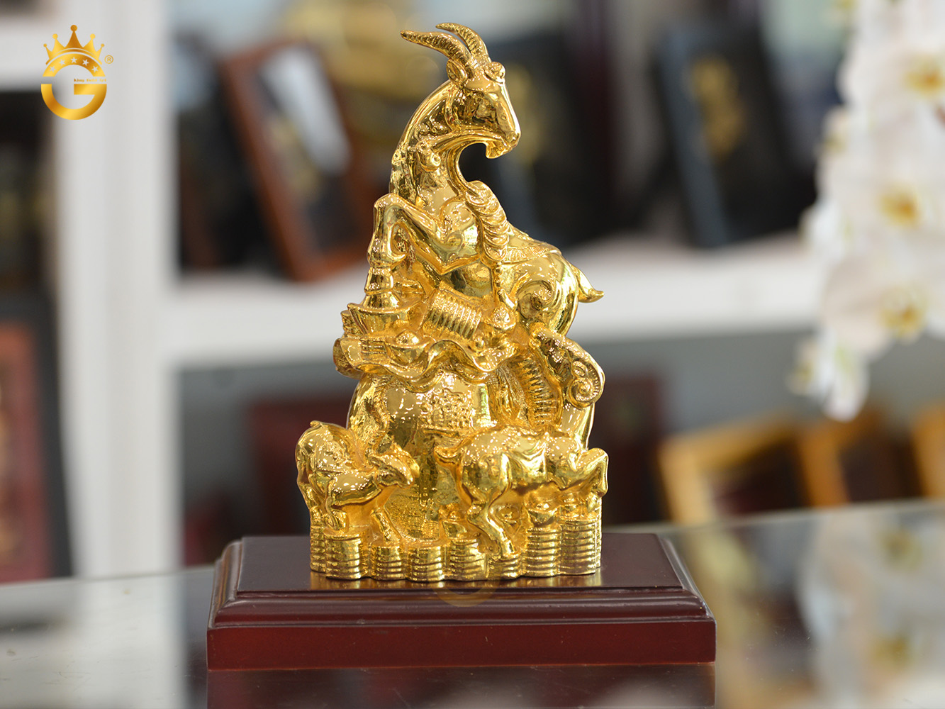 Quà tặng linh vật vàng- tượng dê mạ vàng 24k cao cấp
