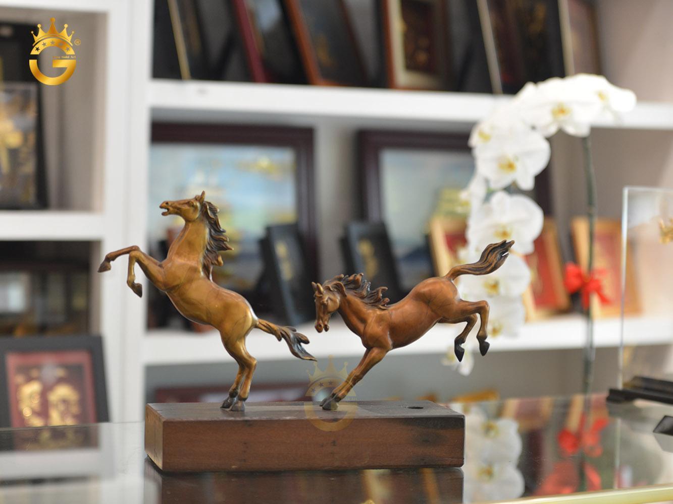 Tượng đồng song mã phát lộc, tượng linh vật phong thủy ngựa đồng