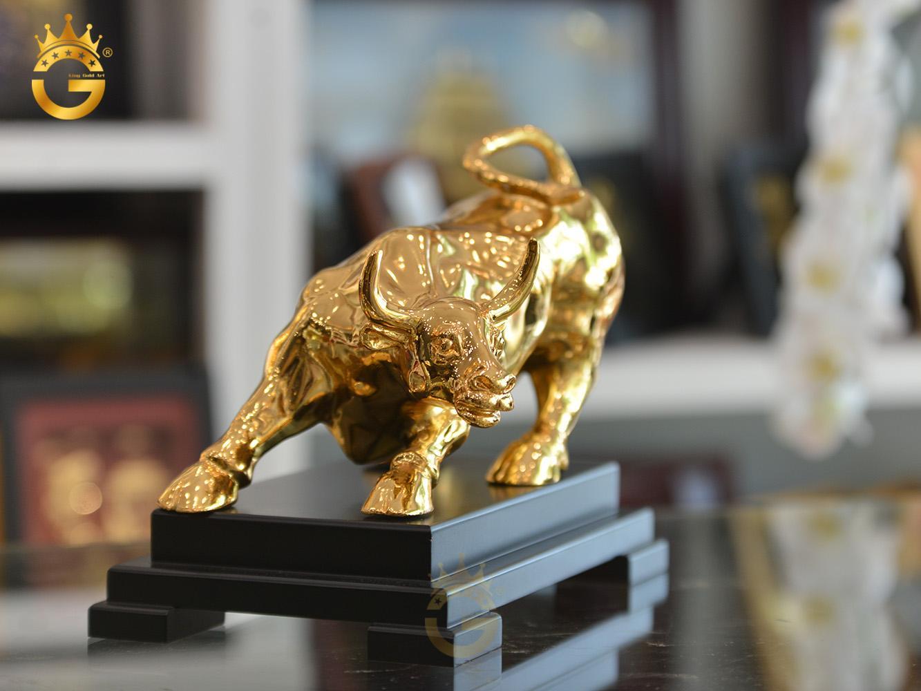 Linh vật phong thủy Tết Tân Sửu 2021- tượng trâu đồng mạ vàng 24k