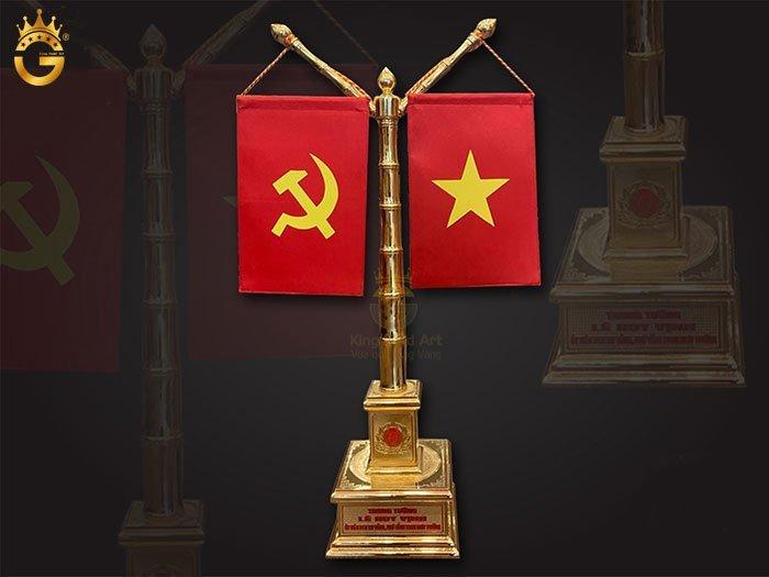 Cột Cờ Bằng Đồng Mạ Vàng Khắc Quốc Huy, Chữ S Việt Nam đẹp