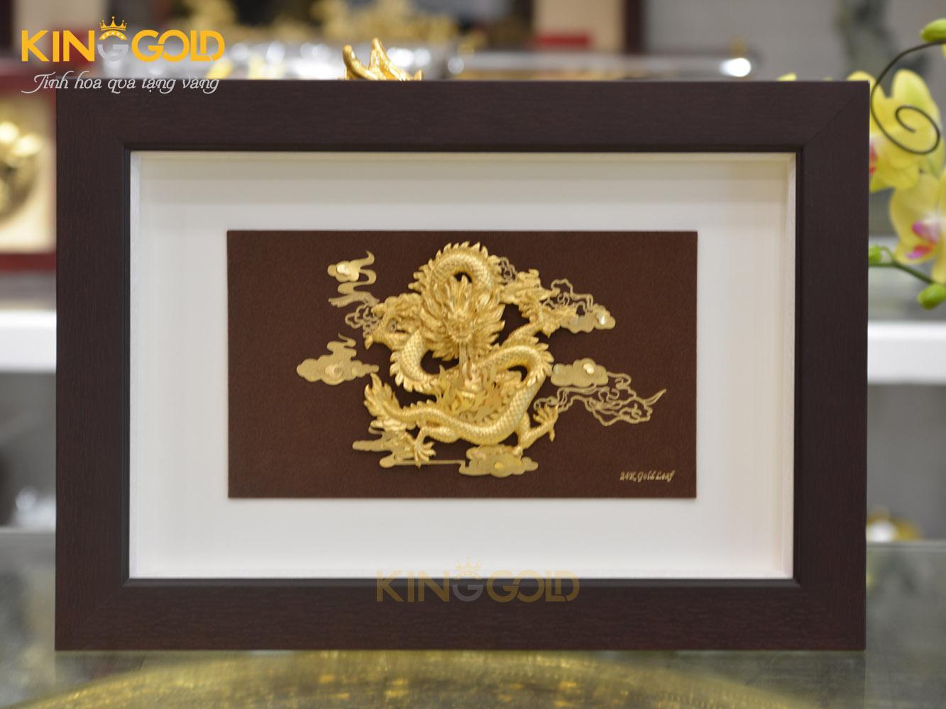 Tranh vàng quà tặng, Tranh rồng vàng phú quý dát vàng lá 24k