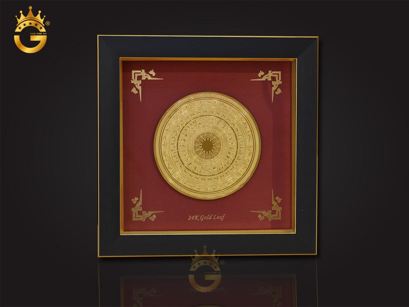 Quà vàng doanh nghiệp quà tặng đại hội, tranh mặt trống đồng dát vàng 24k