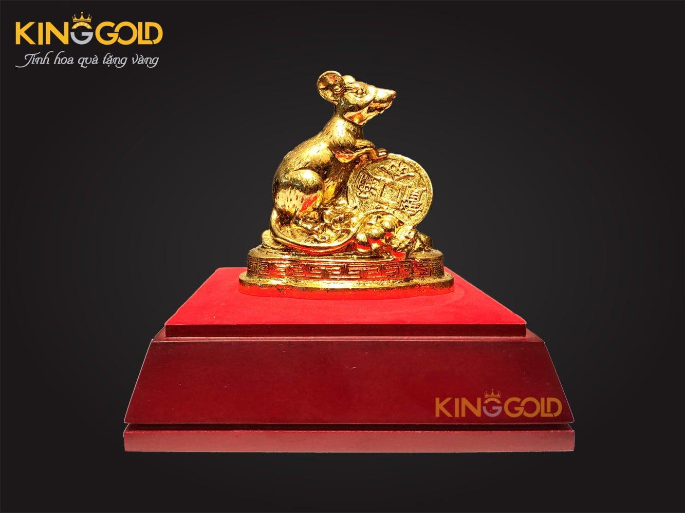 Quà tặng năm mới 2020, tượng chuột mạ vàng 24k