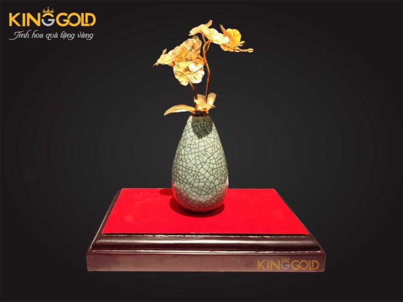 Quà Tết 2020, quà tặng sếp ý nghĩa hoa lan mạ vàng