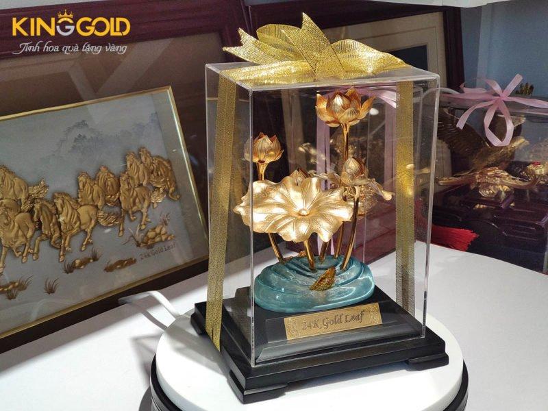 Chậu hoa sen dát vàng 24k chậu hoa làm quà tặng ý nghĩa thiết thực