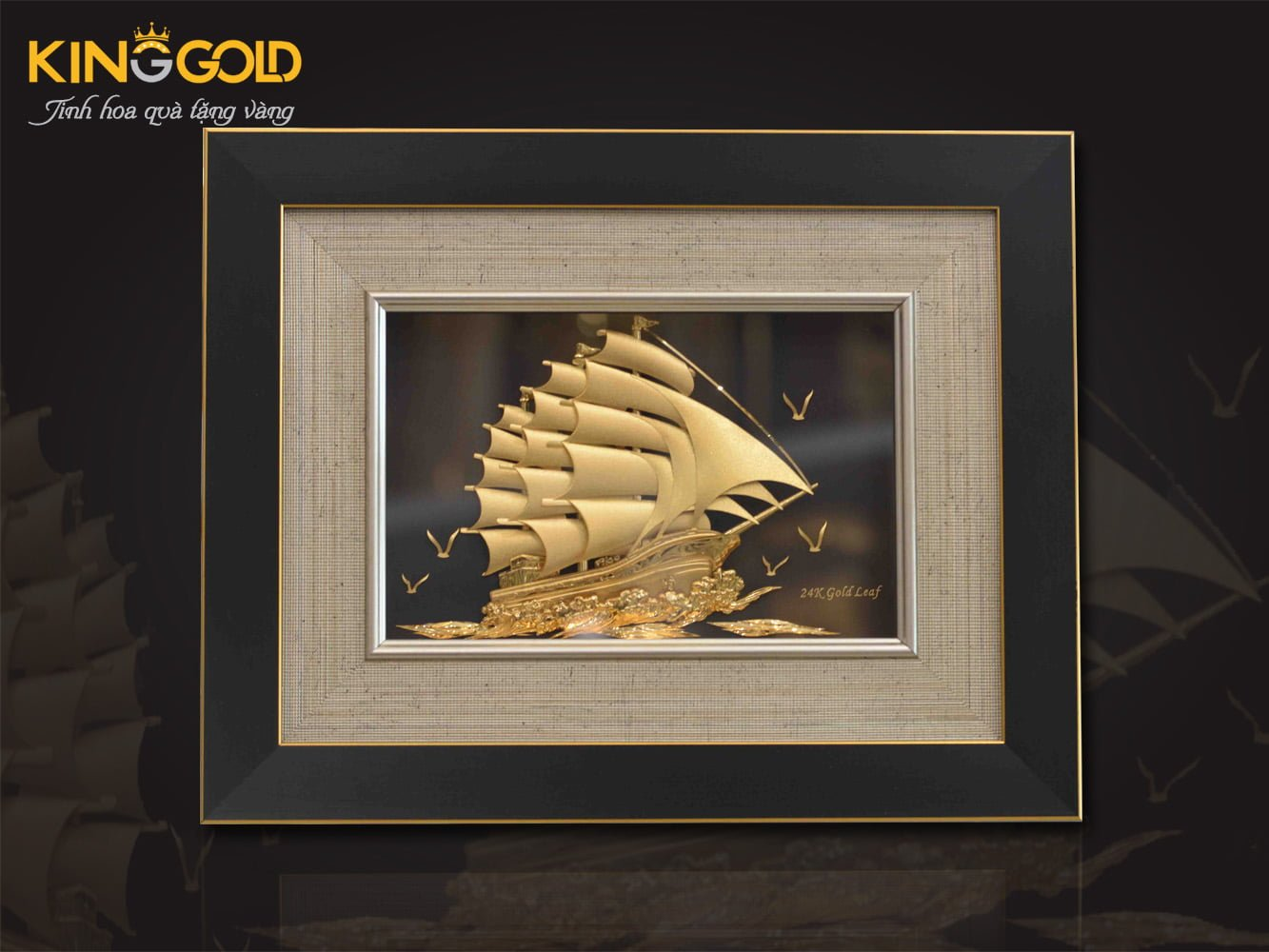 Tranh thuận buồm xuôi gió vàng 24k
