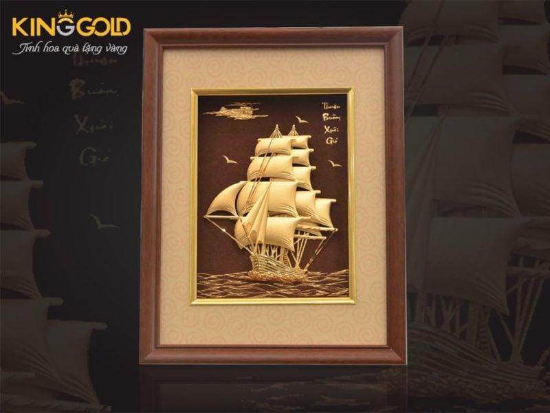 Bán bức tranh thuyền buồm bằng vàng 24k