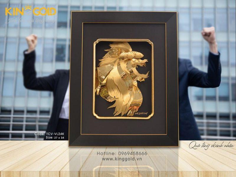 Tranh đôi cá vàng bằng vàng 24k, quà tặng vàng 24k tranh cá vàng đẹp