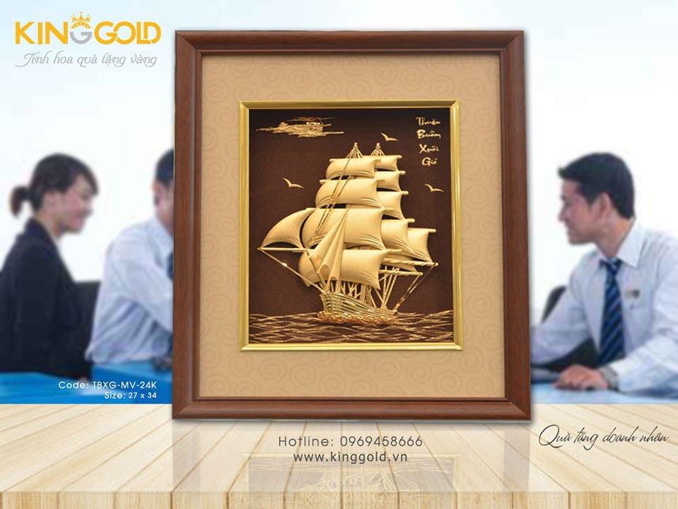 Quà tặng thuyền buồm mạ vàng, thuận buồm xuôi gió vàng 24k