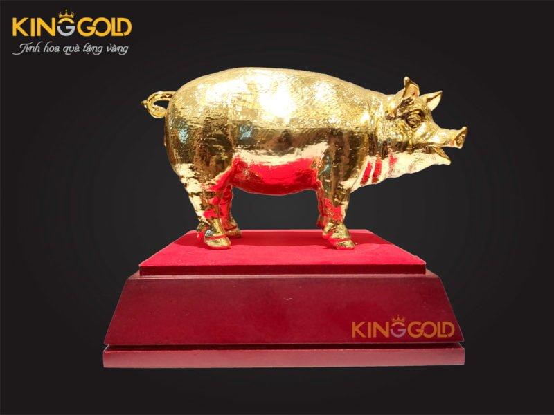 Tượng heo vàng phong thủy, tượng lợn đồng mạ vàng 24k