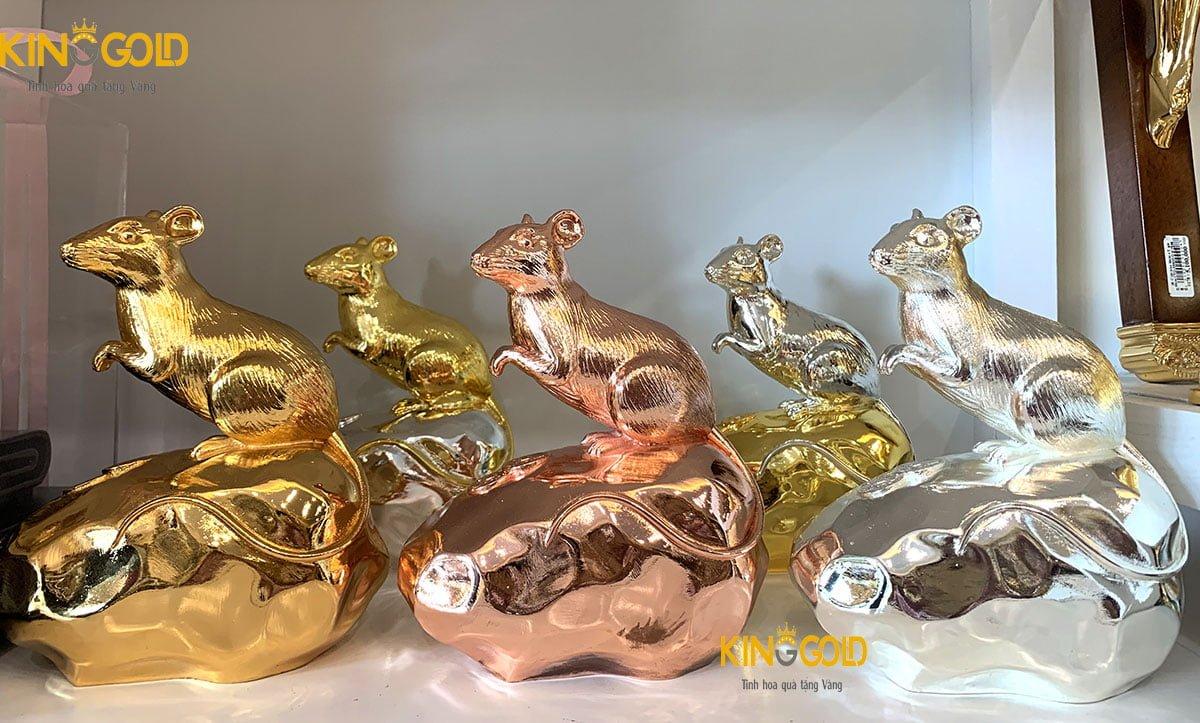 3 màu tượng chuột phú quý dát vàng, bạc, vàng hồng