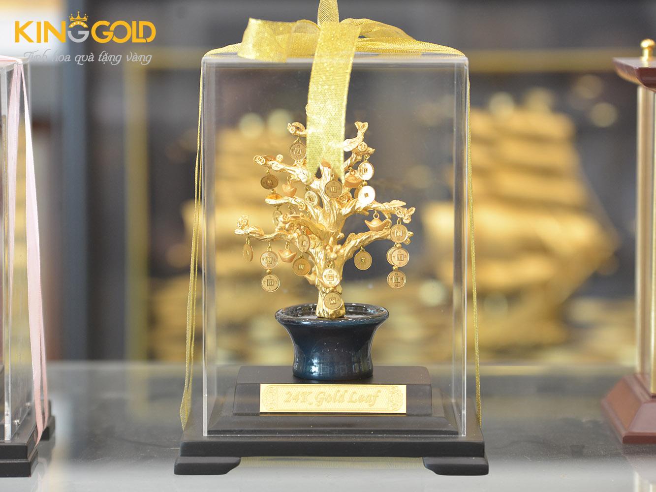 Cây tiền vàng tài lộc, cây vàng 24k quà tặng từ vàng 9999