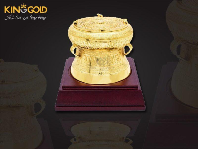 Trống đồng mạ vàng 24k quà tặng trống đồng thu nhỏ đẹp