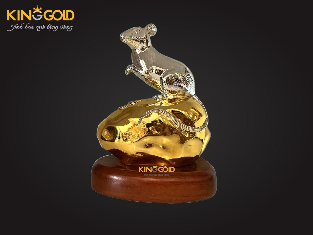 Tượng chuột bằng đồng dát bạc vàng 999,9 18 cm
