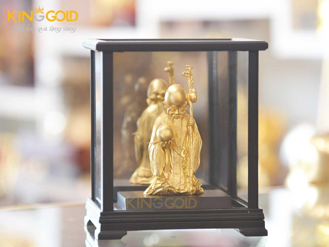 Tượng ông thọ bằng đồng mạ vàng để hộp kính sang trọng