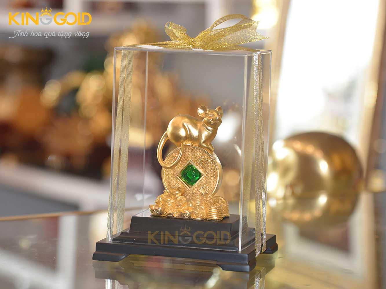 Tượng chuột đứng tiên đồng tiền vàng
