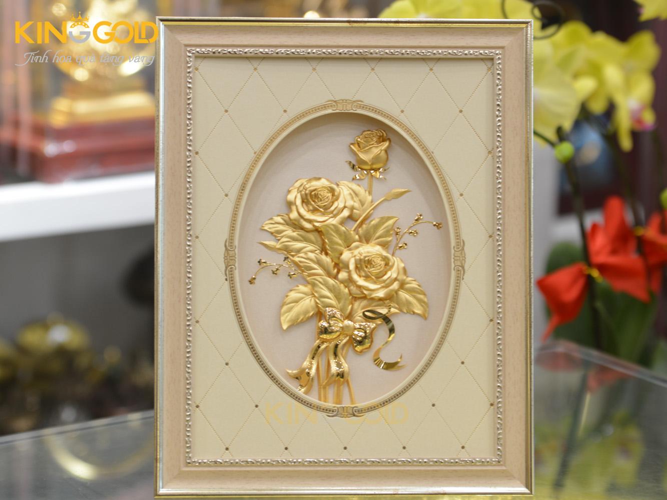 Tranh hoa hồng vàng lá 24k quà tặng ý nghĩa