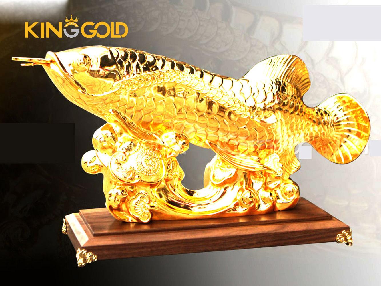 Cá rồng phong thủy, tượng cá rồng mạ vàng trang trí