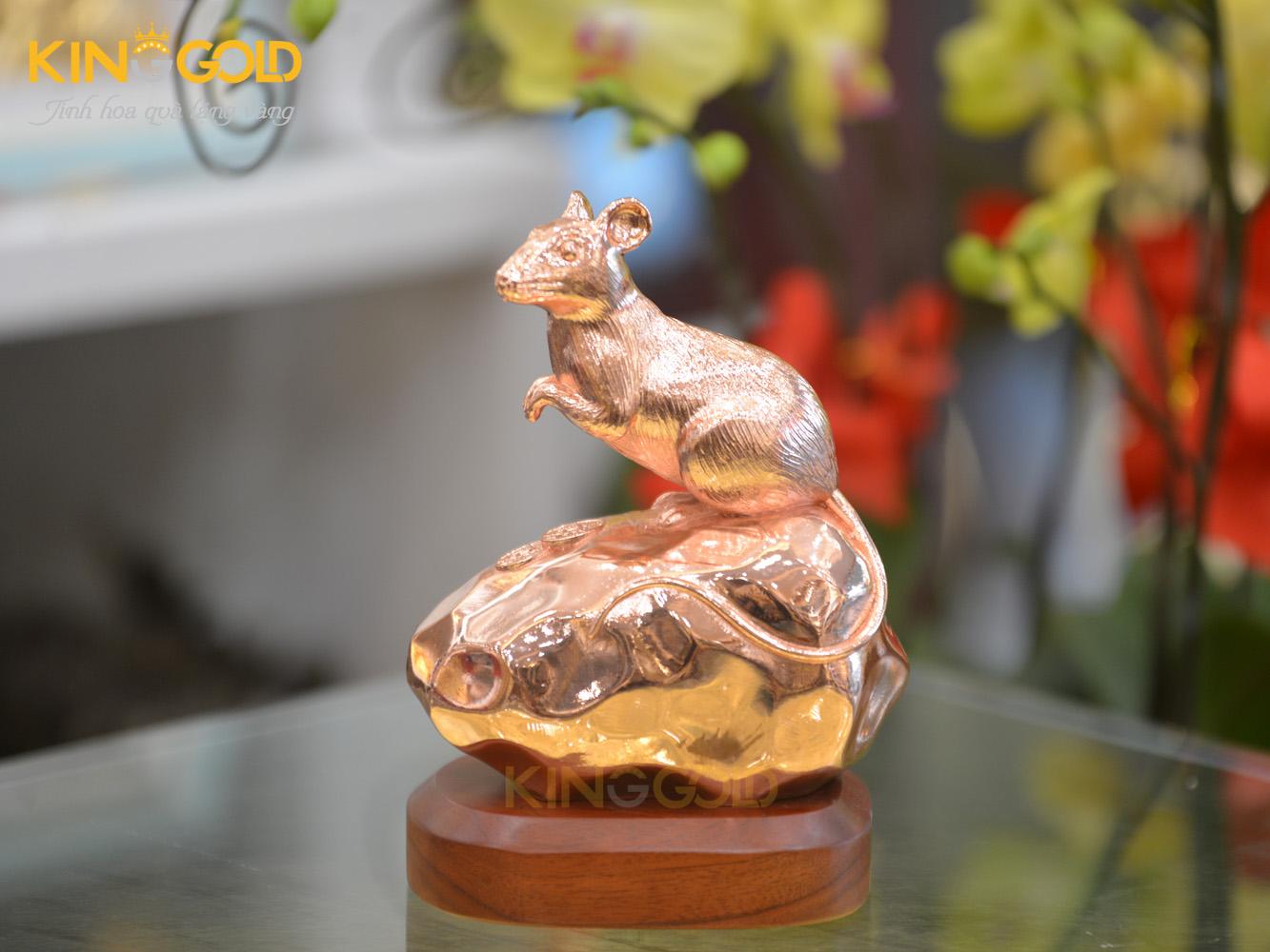 Tượng chuột King Gold vàng gồm sang trọng 18 cm