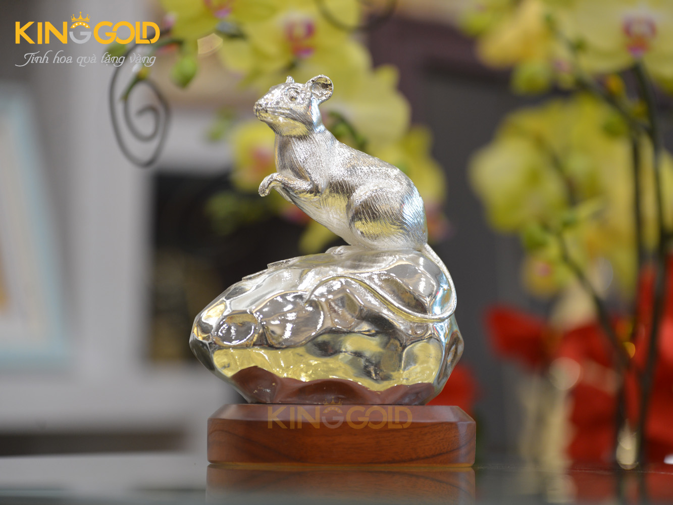 Tượng chuột đồng mạ bạc cao cấp tại King Gold Art