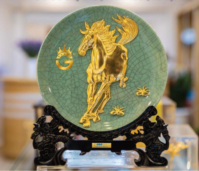 Đĩa dát vàng 12 con giáp, linh vật bày trí phong thủy