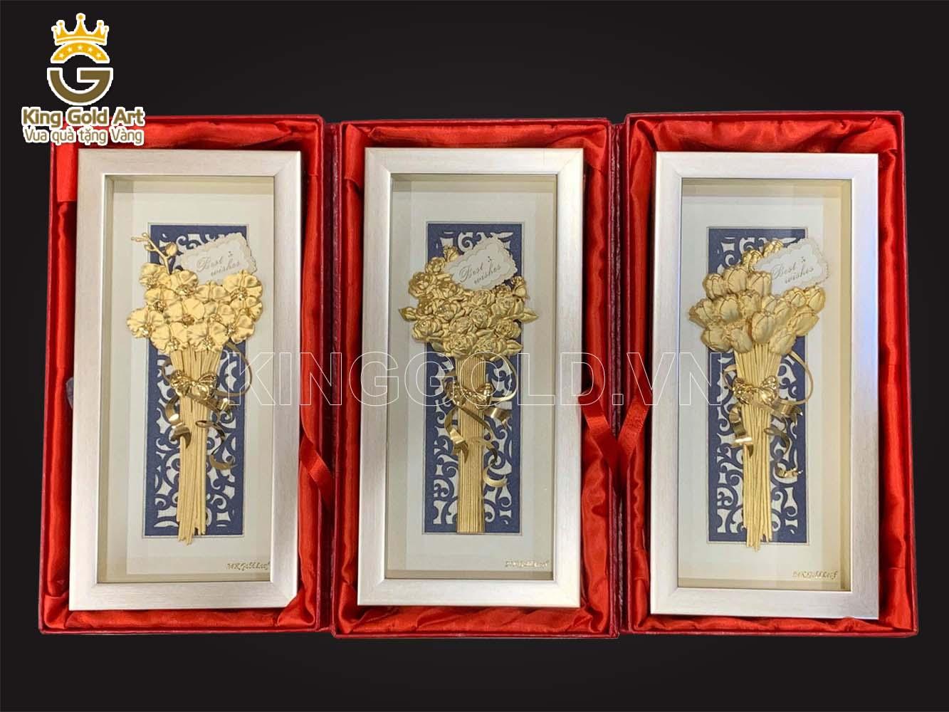 Quà tặng 20-10, 8-3. 14-2 - Tranh hoa hồng vàng lá 999,9